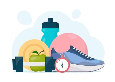 Fitness, sport, diet and healthy lifestyle elements composition for gym banner. Sports training equipment. Vector illustration in flat style Illustration