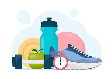 Fitness, sport, diet and healthy lifestyle composition. Training equipment. Running, sport and gym concept illustration. Vector illustration in flat style
