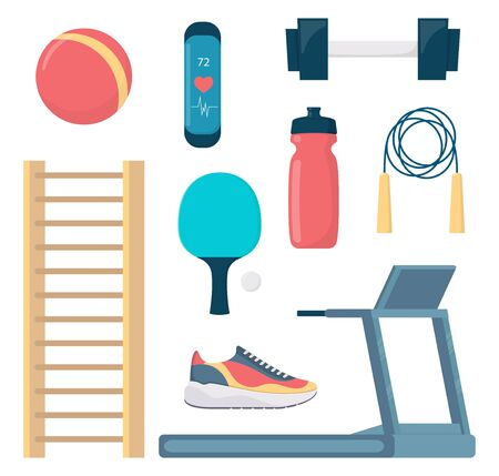 Fitness equipment set, flat style vector illustration Archivio Fotografico - 147631271