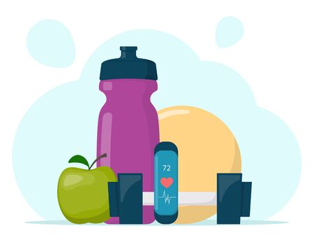 Fitness, sport, diet and healthy lifestyle composition. Training equipment. Sport and gym concept illustration. Vector illustration in flat style Foto de archivo - 149287447
