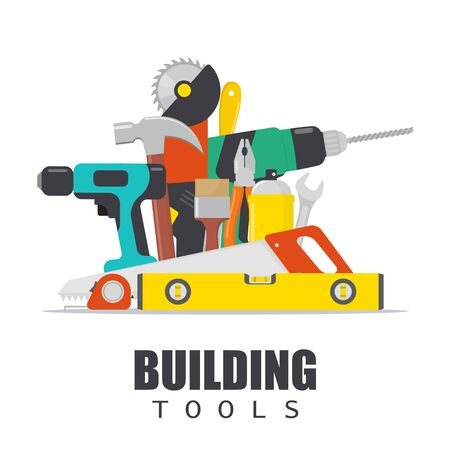 Home repair. Construction tools. Hand building tools for home renovation and construction. Flat style, vector illustration