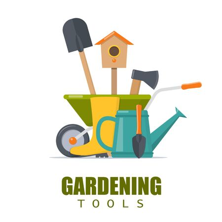 Banner gardening. Concept of gardening. Garden tools. Vector illustration