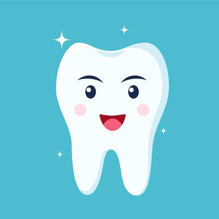 Healthy happy tooth character smiling. Vector illustration in flat style Archivio Fotografico - 148105050