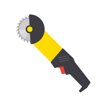 Flat vector icon of circular saw with steel toothed disc. Electric hand tool for cutting wood or metal. Building equipment Illustration