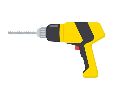 Drilling machine or hand drill, vector flat illustration, isolated on white