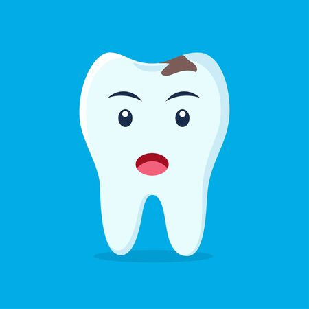 Tooth with caries icon. Unhappy cute tooth character. Caries tooth. Dental personage vector illustration. Illustration for children dentistry. Oral hygiene, teeth cleaning
