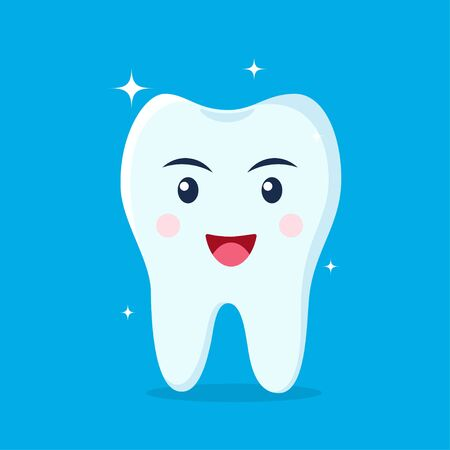 Healthy happy tooth character smiling. Vector illustration in flat style Illustration