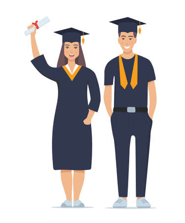 Couple of happy smiling graduates with diplomas. Man and woman graduated from university. Vector illustration isolated on white