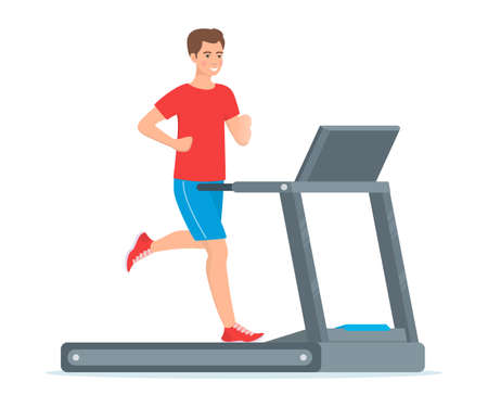 Young man is running on a treadmill. Vector illustration in flat style, isolated on white Illustration