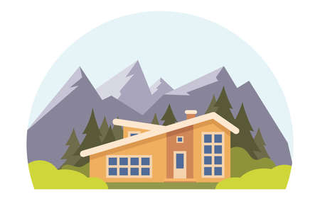 Mountain landscape with big house for tourists. Summer vacation in the mountains, house rentals. Chalet, wooden house, Eco house. Vector flat illustration
