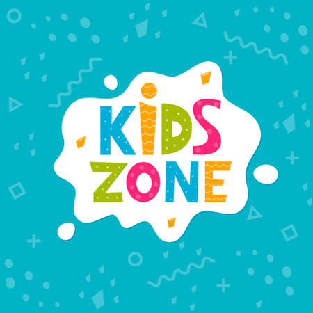 Kids zone vector cartoon logo. Colorful letters in white bubble for children's playroom decoration. Vector illustration Logos