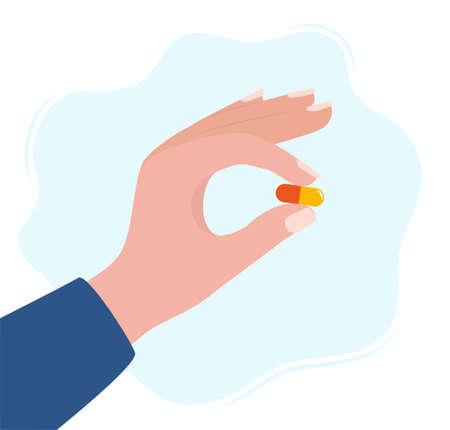 Human hand holding pill between fingers vector illustration in flat style. Medication treatment, pharmacy and medicine, concept vector illustration