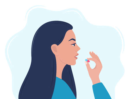Woman taking a pill in to her mouth. Woman holds a pill in her hand and intends to take it. Medication treatment, pharmacy and medicine, concept vector illustration Vektorové ilustrace