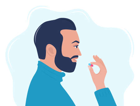 Man taking a pill in to his mouth. Man holds a pill in his hand and intends to take it. Medication treatment, pharmacy and medicine, concept vector illustration Vetores