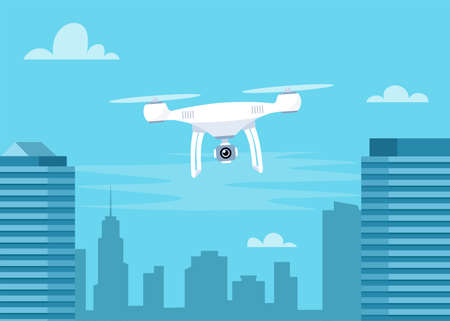Drone with action Camera. Air Video and Photography. Flying quadrocopter with camera over the city. Vector illustration for banner