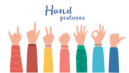 Hand gesture set. human hands showing thumbs up, pointing and greeting, OK. Various hand symbols. Interactive communication set. Vector illustration