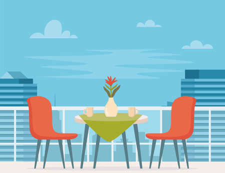 Summer outdoor cafe terrace with table and seats on modern city background. Street restaurant scene in flat design. Romantic dinner table for two. Vector illustration Ilustração