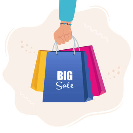Hand with multicolored shopping bags. Big sale concept vector Illustration