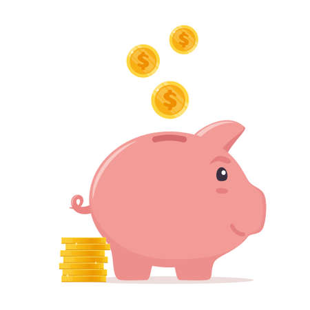 Piggy bank with coins. Money saving, economy, investment, banking or business services concept. Profit, income, earnings, budget fund Vector illustration Ilustração