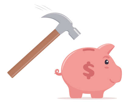 Hammer going to break the piggy bank. Money saving, economy, investment, banking or business services concept. Profit, income, earnings, budget, fund. Vector illustration