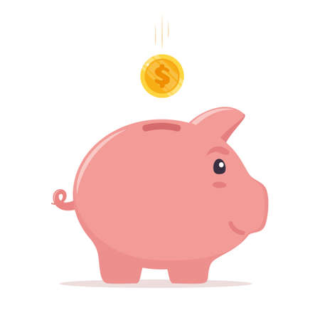 Piggy bank with coin. Money saving, economy, investment, banking or business services concept. Profit, income, earnings, budget fund Vector illustration Ilustração
