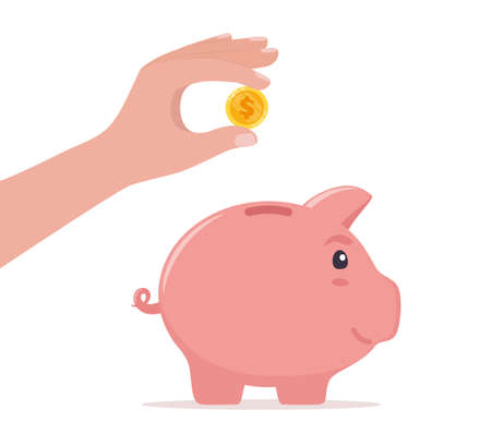 Human hand drops coin into piggy bank. Money saving, economy, investment, banking or business services concept. Profit, income, earnings, budget, fund. Vector illustration