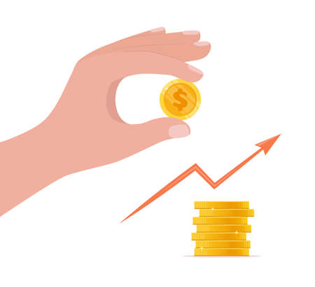 Hand putting coin on stack. Financial growth, saving money and investment concept. Pile of gold shiny coins with dollar sign. Vector illustration