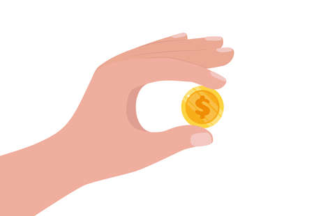 Hand holding gold coin. Business success, profit, finance, making money concept. Coin with dollar sign. Flat style vector illustration Ilustração