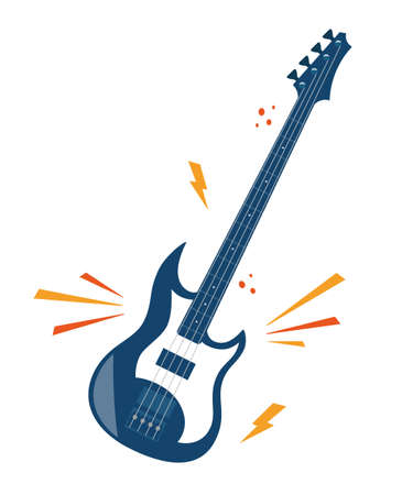 Electric guitar flat vector illustration. Rock music instrument, navy blue color