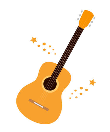 Flat style acoustic guitars isolatedon white. Classical musical instrument, vector illustration Ilustração