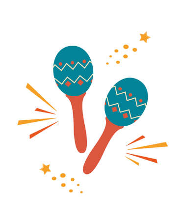 Maracas. Musical Instrument. Maraca, Cuba, Mexico, Carnival Percussion Instrument Vector illustration in flat style