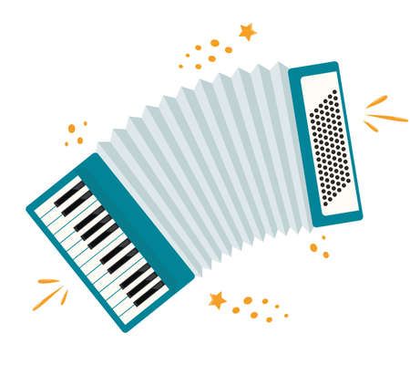 Accordion, modern musical instrument. Classic accordion, harmonious sound. Flat style keyboard wooden musical instrument, work in the ensemble. Vector illustration isolated