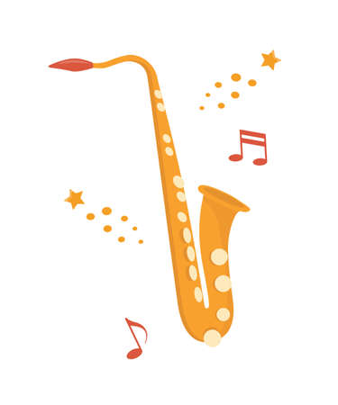 Saxophone, classical music wind instrument. Blues, funk or jazz musical equipment. Flat vector illustration Isolated on white background Ilustração