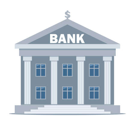 Bank building on a white background, bank financing, money exchange, financial services, ATM, giving out money. Vector flat illustration