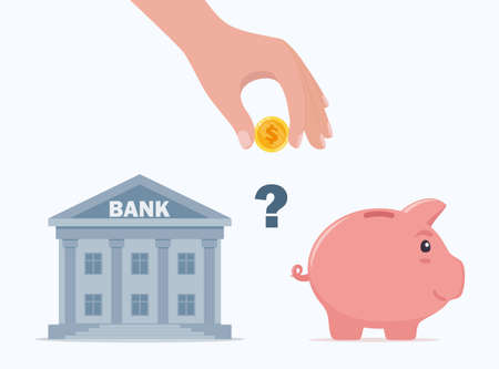 Choosing between bank and piggybank. Budget planning concept. Money savings investment and funding. Bank loan and economy choice. Financial literacy. Vector illustration