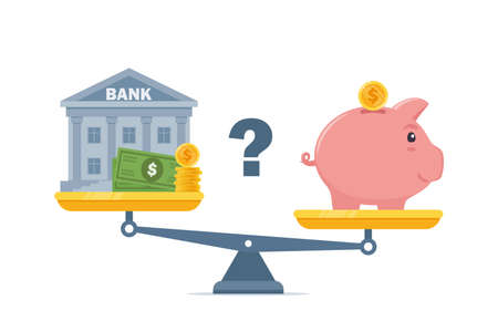 Bank and piggybank on scales, Choosing between them. Budget planning concept. Money savings investment and funding. Bank loan and economy choice. Financial literacy. Vector illustration