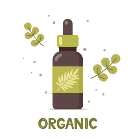 Natural cosmetic from organic plants. Couple of green leaves and bottle. Spa bio creme bottle. Stylish concept for vegan organic cosmetics in flat design. Vector illustration Ilustração