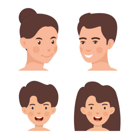 Set of happy family avatars, flat design style. Mom, dad, son, daughter happy faces. Vector illustration Ilustração