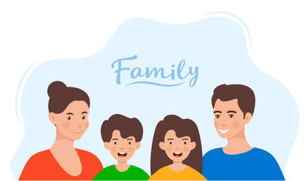 Cute family in colorful clothes. Family portrait. Mom, dad, son, daughter happy faces. Simple flat style vector illustration