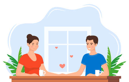 Woman and man in love. Couple at the table. Man holds a woman's hand and they look at each other. Vector illustration