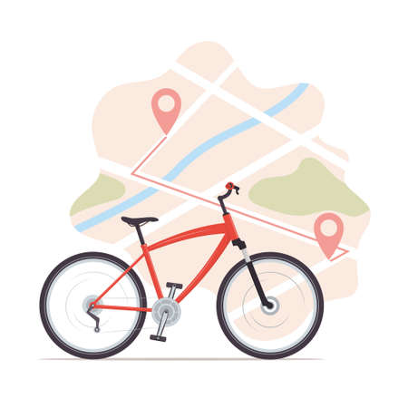Bike, map with start and finish markers. Bicycle rental, bike sharing or delivery service. City map with pins and bike. Vector flat illustration for banner, flyer, card