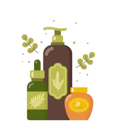 Natural cosmetic from organic plants. Couple of green leaves and bottles. Spa bio creme bottle. Stylish concept for vegan organic cosmetics in flat design. Vector illustration
