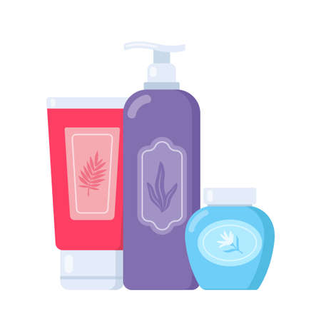 Set of tubes and vials cosmetics. Everything for beauty and skin care. Cosmetic bottles. Cream, gel, tube, soap. Products for beauty and cleanser. Vector illustration in flat style
