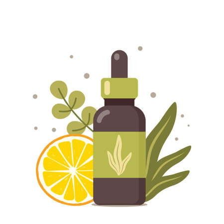Natural cosmetic from organic plants. Tropical leaves and orange slice. Dermatological treatment. Organic, aromatherapy, essential oil. Herbal beauty product. Vector illustration