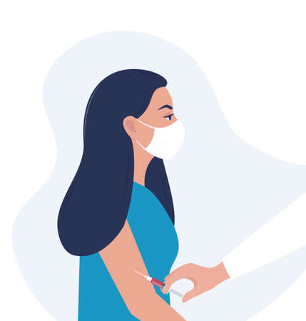 Vector illustration. Doctor injects vaccine in patient's shoulder. For medical publications, immunization and vaccination campaign of people against infection, bacterial disease. Vector illustration