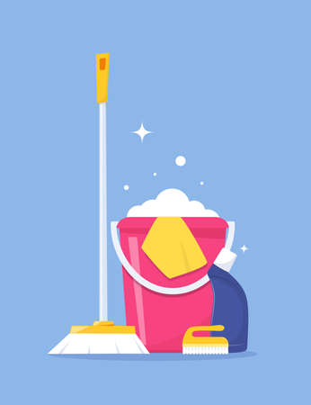 Cleaning service and household supplies. Design concept for web banner, infographic, poster. Detergent and disinfectant products with bucket, mop, detergent. Vector illustration