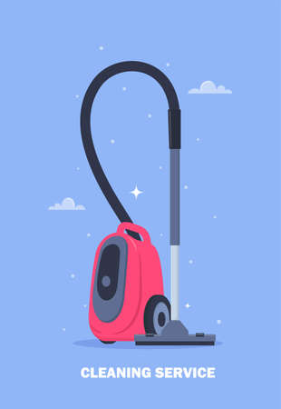 Cleaning service design concept for web banner, infographic, poster. Modern vacuum cleaner. Electrical appliance for cleaning. acuun cleaner for home and professional cleaning. Vector illustration Ilustração