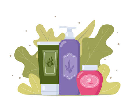 Tubes and vials cosmetics, tropical leaves on background. Everything for beauty and skin care. Cream, gel, tube, soap. Natural cosmetic from organic plants. Herbal beauty product. Vector illustration