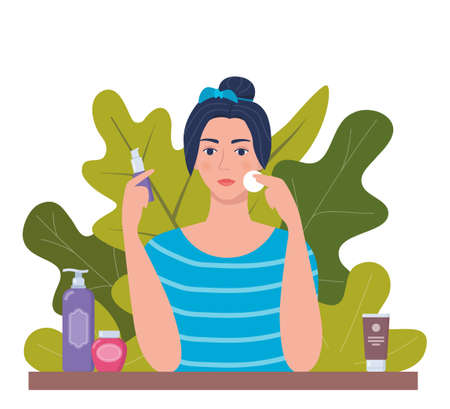 Young woman cleaning her face with cotton pad. Tubes and vials cosmetics, tropical leaves on background. Skin care concept for vegan organic cosmetics. Vector illustration