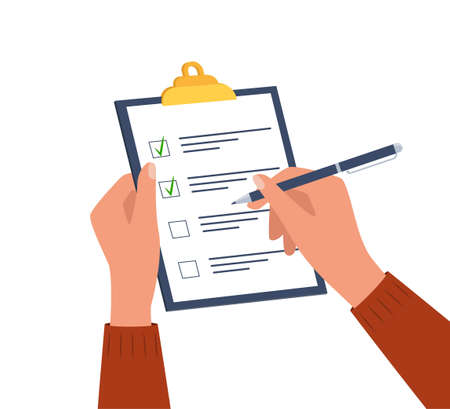 Hands holding clipboard with checklist with green check marks and pen. Human filling control list on notepad. Concept of Survey, quiz, to-do list or agreement. Vector illustration in flat style